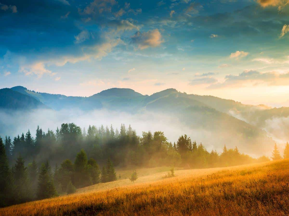 Piękny widok na góry i zamglone doliny Life coaching