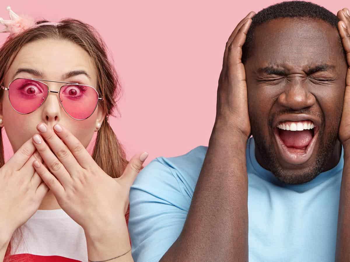 Mężczyzna i kobieta w różowych okularach
